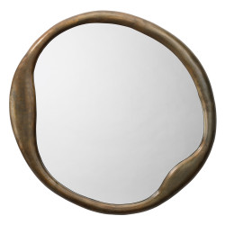 Jamie Young Organic Round Mirror - Antique Brass Metal