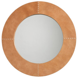 Jamie Young Round Cross Stitch Mirror - Buff Leather