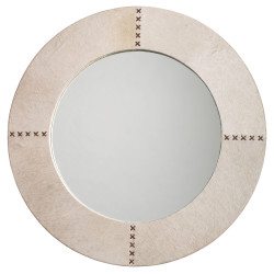 Jamie Young Round Cross Stitch Mirror - White Hide