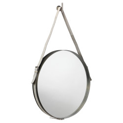 Jamie Young Round Mirror - Large - Antique Silver Metal w/ Grey Hide Strap