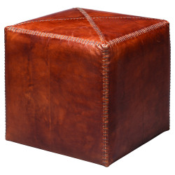 Jamie Young Ottoman - Small - Tobacco Leather