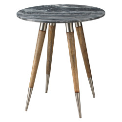 Jamie Young Owen Side Table - Large - Grey Marble, Natural Wood & Ant. Silver Metal