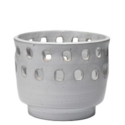 Jamie Young Perforated Pot - Large - White Ceramic