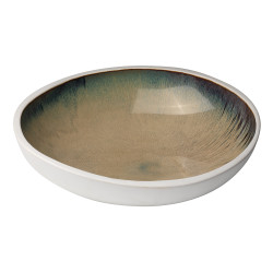 Jamie Young Mykonos High Rim Bowl - Large - Sand Ombre Reactive Glaze Ceramic