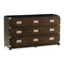 Jonathan Charles Campaign Large Campaign Style Dark Santos Rosewood Chest Of Six Drawers
