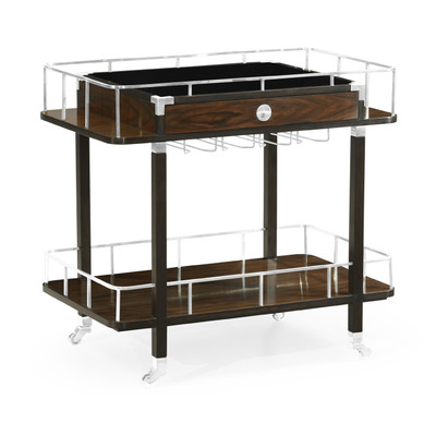Jonathan Charles Campaign Rectangular Campaign Style Dark Santos Rosewood Rolling Bar Cart With Drawer