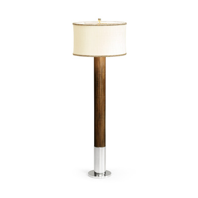 Jonathan Charles Campaign Circular Campaign Style Dark Santos Rosewood & White Stainless Steel Floor Lamp