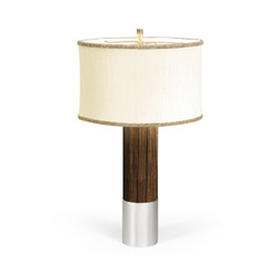 Jonathan Charles Campaign Circular Campaign Style Dark Santos Rosewood & White Stainless Steel Table Lamp