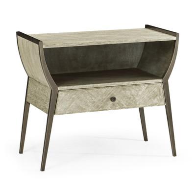 Jonathan Charles Corniche Rectangular Grey Oak Bedside Table