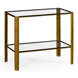 Jonathan Charles Cosmo Brass & Glass End Table