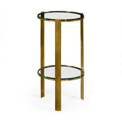 Jonathan Charles Cosmo Brass & Glass Round Lamp Table