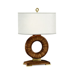 Jonathan Charles Cosmo Porthole Zebrano Table Lamp