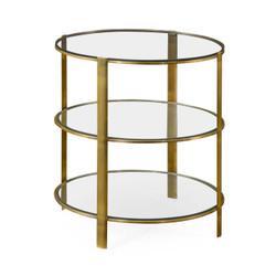 Jonathan Charles Cosmo Brass & Glass Circular Side Table