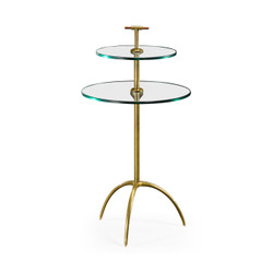 Jonathan Charles Cosmo Brass & Glass Round Drinks Table