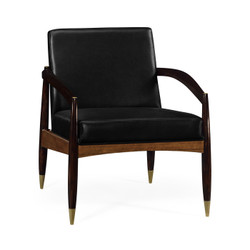 Jonathan Charles Cosmo Contemporary Hyedua & Ebonised Occasional Chair, Upholstered In Black Leather