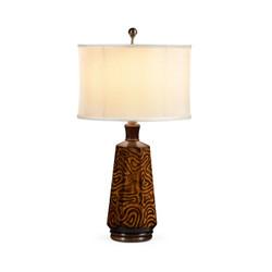 Jonathan Charles Cosmo Hexagonal Dijon Burl Table Lamp