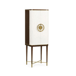 Jonathan Charles Eclectic Walnut & Crackle Cloth Lacquered Drinks Cabinet