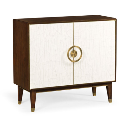 Jonathan Charles Eclectic Walnut & Crackle Cloth Lacquered Sideboard