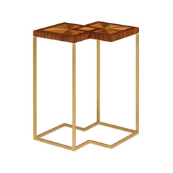 Jonathan Charles Eclectic Double Diamond Bookmatched Walnut Side Table