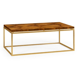 Jonathan Charles Eclectic Rectangular Bookmatched Walnut Coffee Table