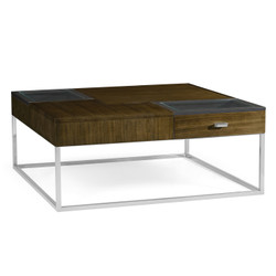 Jonathan Charles Eclectic Square Autumn Walnut Coffee Table With Two Glass Top Drawers