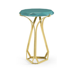 Jonathan Charles Eclectic Round Jewel Style Brass & Daphne Blue Diamond Cut End Table