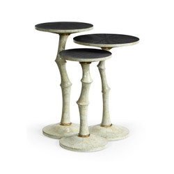 Jonathan Charles Eclectic Set Of Three Bamboo Style Bone Eggshell & Cerused Oak Nesting Tables