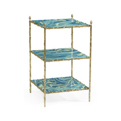 Jonathan Charles Eclectic Square Graffiti & Brass Three-Tier End Table