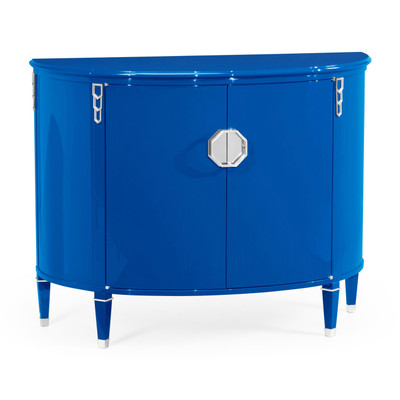 Jonathan Charles Eclectic Demilune Royal Blue Storage Cabinet