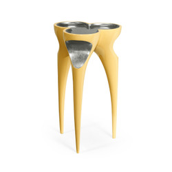 Jonathan Charles Eclectic Trefoil Peking Yellow & Silver Cut-Out Occasional Table