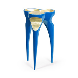 Jonathan Charles Eclectic Trefoil Royal Blue & Gold Cut-Out Occasional Table