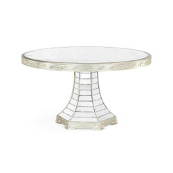 "Jonathan Charles Eclectic 55"" Round Champagne Silver-Leaf & Antique Glass Mirror Greek Key Dining Table"