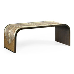 Jonathan Charles Fusion Curved Chinoiserie Style Antique Etched Brass & Ebonised Oak Coffee Table