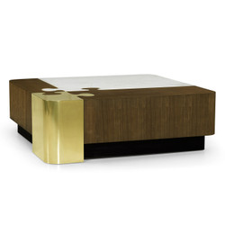 Jonathan Charles Fusion Rounded Square Autumn Walnut, Brass & Marble Puzzle Coffee Table