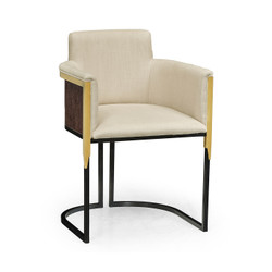 Jonathan Charles Fusion High Back Black Eucalyptus & Brass Tub Dining Chair, Upholstered In Mazo