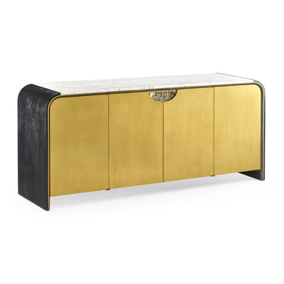 Jonathan Charles Fusion Curved Ebonised Oak & Brass Sideboard With White Calcutta Marble Top