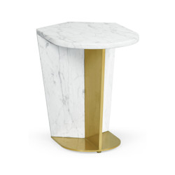 Jonathan Charles Fusion Small White Calcutta Marble & Brass End Table