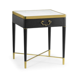 Jonathan Charles Fusion Square Ebonised Oak & White Calcutta Marble Lamp Table