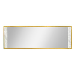 Jonathan Charles Fusion Long Rectangular Ebonised Oak & White Calcutta Marble Hanging Mirror