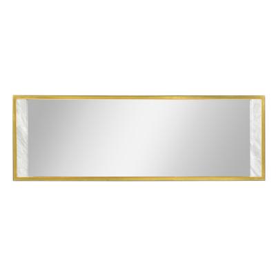Jonathan Charles Fusion Long Rectangular Ebonised Oak & White Calcutta Marble Hanging Mirror