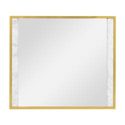 Jonathan Charles Fusion Square Ebonised Oak & White Calcutta Marble Hanging Mirror