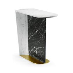 Jonathan Charles Fusion Contemporary White Calcutta & Black Marble Sofa Table