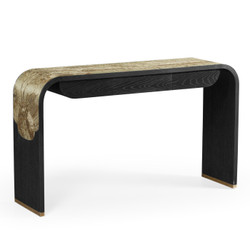 Jonathan Charles Fusion Curved Chinoiserie Style Antique Etched Brass & Ebonised Oak Console Table