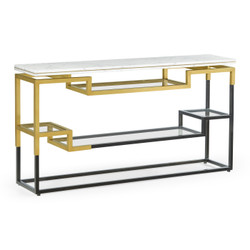 Jonathan Charles Fusion Thin Rectangular Multi-Tier Antique Bronze & Brass Console Table With White Calcutta Marble Top