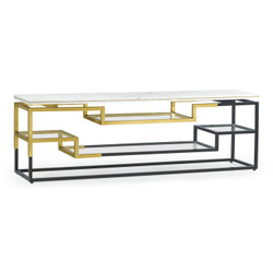 Jonathan Charles Fusion Low Rectangular Multi-Tier Antique Bronze & Brass Console Table With White Calcutta Marble Top