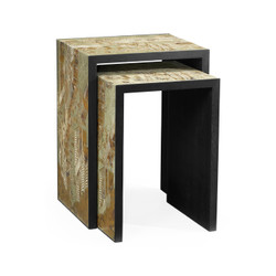 Jonathan Charles Fusion Chinoiserie Style Antique Etched Brass & Ebonised Oak Nesting Tables