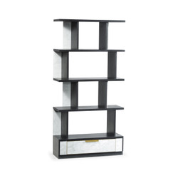 Jonathan Charles Fusion Contemporary Four-Tier Ebonised Oak & White Calcutta Marble Étagère With Bottom Drawer