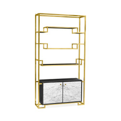 Jonathan Charles Fusion Contemporary Antique Satin Gold Brass & Ebonised Oak Étagère With Bottom Marble Cabinet
