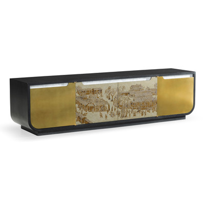 Jonathan Charles Fusion Chinoiserie Style Antique Etched Brass & Ebonised Oak Tv & Entertainment Unit
