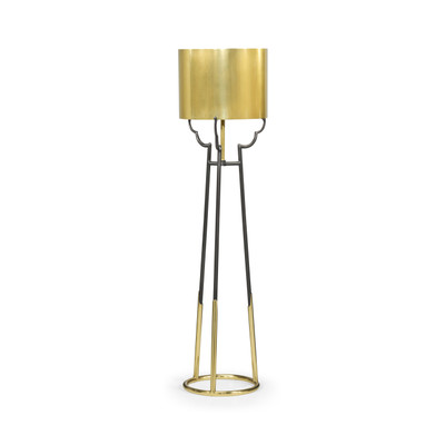 Jonathan Charles Fusion Contemporary Antique Satin Gold Brass & Black Stainless Steel Floor Lamp